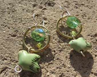 """Earrings """"Come"""" plated silver brass Green"""
