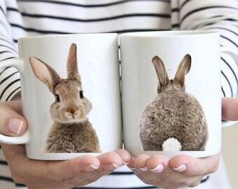 Rabbit coffee mug,Nursery Animal cup,Woodland Animal mug,Woodland Baby Shower,Forest Animal mug,Bunny Butt cup, Girls gift mug,Rabbit Lover