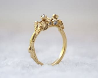 Gold Filled Ring, Nature Ring, Woodland Ring, Delicate Ring, Twig Ring, Leaf Ring, Romantic Ring, Branch Ring, Gold Ring