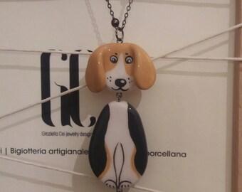 Beagle dog charm necklace