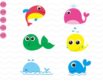 Whale Clipart , Fish Svg ,  cricut, cameo, silhouette cut files commercial & personal use