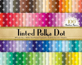 "100 Seamless Tinted Polka Dot Papers in 12"" x 12"", 300 Dpi Planner Paper, Commercial Use, Scrapbook Papers, Rainbow Paper"