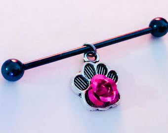 Metallic pink rose charm on silver dog paw on stainless steel 14g industrial body jewelry, blue, black, silver, rainbow barbells