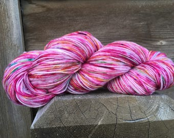 Rose Petal Parade A hand painted Sock yarn, One of a kind Dot Dye