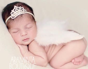 Newborn wings and crown headband, Newborn Photoshoot Prop, White Angel Wings, Sparkle Tiara