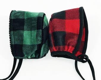 Neutral Gender Fleece Buffalo Checkered Baby Neutral Gender Hat