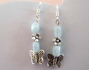 Earrings blue butterfly on flower silver metal and glass beads