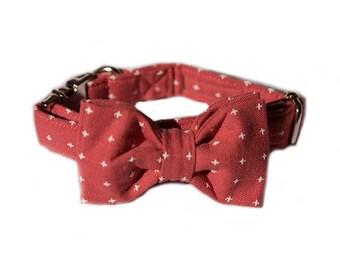 Garnet Red Dog Collar, Dog Lead & Bowtie