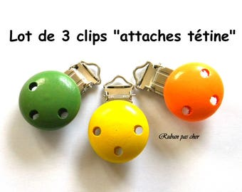 """Set of 3 clips - clips """"pacifier / Soother""""-wood - 3 colors - not cheap!"""