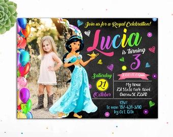 Customizable- Princess Jasmine Invitation, Princess Birthday Invitation, Birthday Invitations for Girls, Jasmine Invites,Digital, Aladdin
