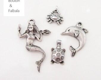 """Lot breloques"""" MER""""  argenté vieilli x 4 - création bijoux"""