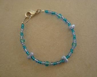 Little girl bracelet pearls blue