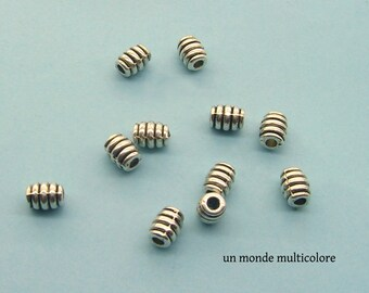 15 oval beads pattern engraved 7 x 5 mm antique silver metal