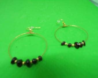 Gold tone with Garnet bead earrings