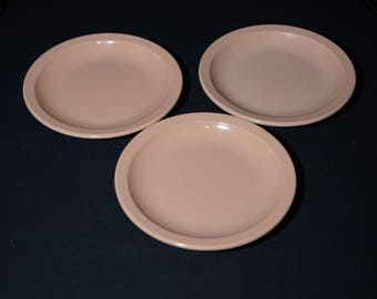 Vintage, MELMAC, Old Pink, 3 small plates, G.P.L., Hard Plastic, Canadian, melamine, 6 inches plates, Canadian Melmac