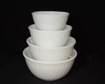 FIRE KING, White, Swirl, Mixing Bowl, Set of 4, Milk glass, Vintage, 1950s, nesting bowl,