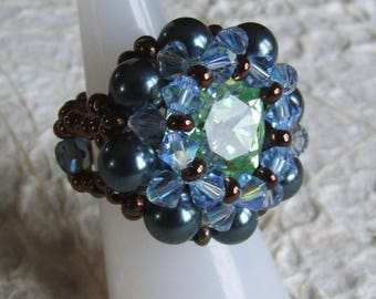 Handcrafted green blue crystal ring T.55 / 56 (US: 7,5)