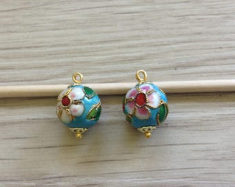 Pendentis turquoise cloisonne beads 12 mm x 2