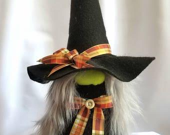"Halloween Witch Gnome Holiday Decoration 009 ""Brunhilda"""
