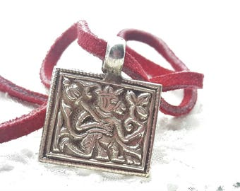 Vintage Sterling Silver Pendent on Red Suede Cord Necklace/925/Free Shipping US/Ethnic/Unique