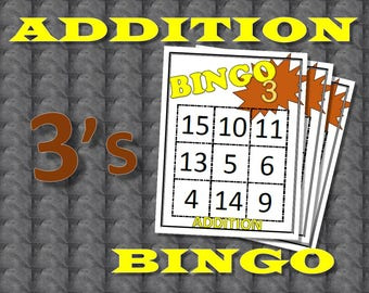 Math Facts Bingo: Addition 3's