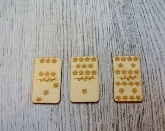 Domino sold per 3 1276 embellishment wooden creations