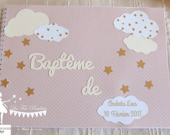 ON order-guestbook ivory Golden Classic cloud and pink star