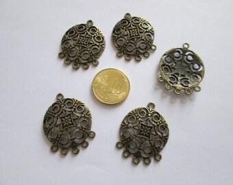 lot de 5 connecteur cercle rosace en métal couleur bonze 24 X 31 mm