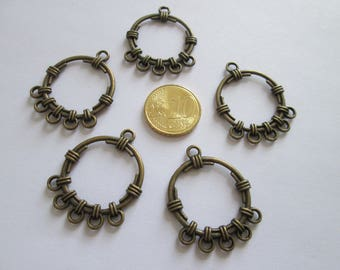 lot de 5 connecteur cercle en métal couleur bonze 34 X 27 mm