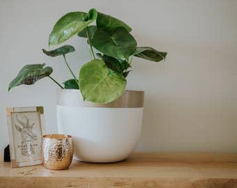 Champagne Gold Planter | Pot | Indoor & Outdoor Modern Lightweight Hand Painted Planters | Large Planter | Minimalist Shape | Plant Pot