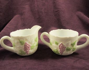 Vintage Milk Glass Sugar & Creamer Set with Grape Vine Pattern Painted