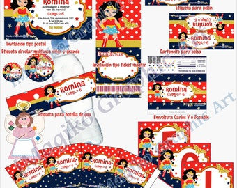 Personalized Printable Kit for Parties. Wonder Woman