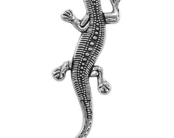 4 charms salamander in silvery metal aged, antique bc232