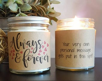 Always & Forever Soy Candle, Scented Soy Candle Gift, Wedding Candle, Candle Gift, Personalized Candle, Anniversary Candle Gift, Love Candle