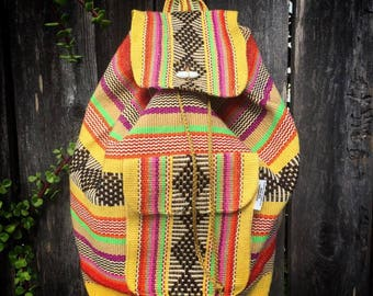 Mexican backpacks, beach bag, colorful Mexican bags, serape backpacks, authentic Mexican backpack