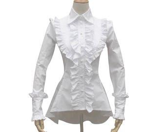 Victorian Vintage Lolita Gothic Theater Steampunk Shirt Ghost Witch Women Halloween Costume  Renaissance White Cotton Blouse
