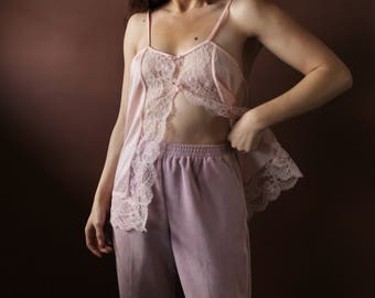 The Blush Camisole / pale pink cami / vintage camisole / sheer tank / medium