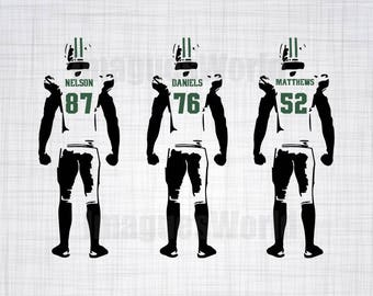 Green Bay Parkers Football player decal,  with SVG, DXF, PNG Commercial & Personal Use