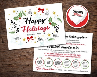 Rodan and Fields Happy Holidays Cards, Rodan + Fields Christmas Scratch Off Cards, RF Christmas Card, Home Office Approved