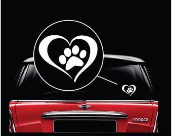 Heart Paw Print Car Window Decal Sticker