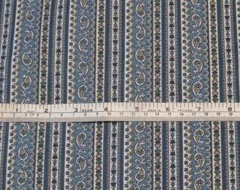 Country blue cotton stripe fabric - paisley stripe