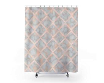 Pink Marble Shower Curtain Bathroom Decor Modern Cute