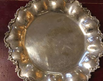 Vintage Heavy Sterling Silver Platter With Raised Scalloped Border