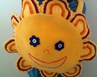 Crocheted flower backpack bag