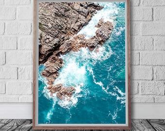 Aerial Photography Digital Print, Coastal Wall Art, Blue Wall Art, Rocky Seascape, Nature Wall Art, Ocean Poster, Living room decor, Sea Art