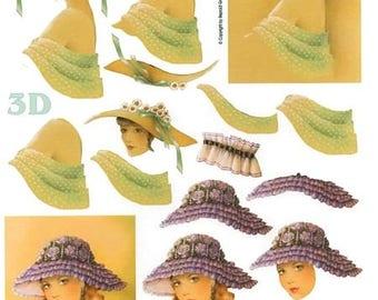 1 x sheet 3D girls hats (676)