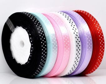 Ribbon colored polka dot satin 10mm, sold by the yard, choice of color