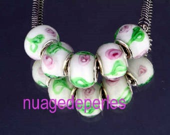 5 lampwork glass flower leaf beads 15mm murano style