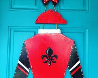 University of Louisville Derby Jockey Silks Door Hanger Wood Red Black White