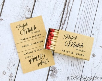 Matchbox favour labels, the perfect match, match made in heaven, match wedding favour, matches, sparkler send off, rustic, kraft brown paper